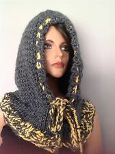 Hoodie Hat Slouch Beanie Hand Knit Neckwarmer Designer Fashion Hip Winter Head
