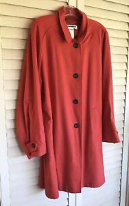 Jil Sander Coral 100% Cashmere Coat Oversized Orange Winter Jacket 40 44 ? Large