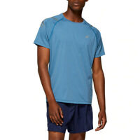 Asics Mens Icon Running T Shirt Tee Top Blue Sports Breathable Reflective