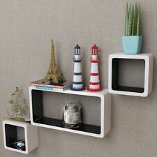 3 White-black MDF Floating Wall Display Shelf Cubes Book/dvd Storage vidaXL
