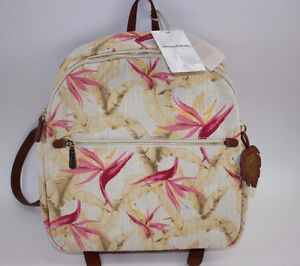 NWT $108 TOMMY BAHAMA Birds of Paradise Linen Blend Leather Trim DESTIN Backpack