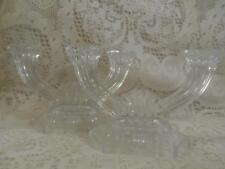 2 Vintage Crystal Pressed Glass 2-Arm Fan & Block Candelabra CandleStick Holders