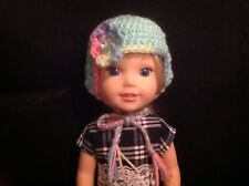 Wellie Wishers Teal pink purple flower Hat beanie winter 14 doll clothes outfit