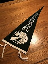 "Vintage Dartmouth University Black Felt Pennant, Full Size 12"" X 29"", Rare."