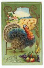Thanksgiving Postcard Samson Brothers Series 7013 c. 1910 Embossed Gilded WOB