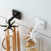 Under Shelf Rotate Hook Holder Hang Kitchen Cabinet Organizer Storage Rack Y4R1