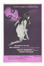 SECRET CEREMONY Movie POSTER 27x40 B Elizabeth Taylor Robert Mitchum Mia Farrow