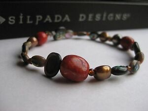 Silpada Red Coral Pearl Abalone Shell Stretch Bracelet - EUC