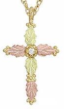 "Dakota Black Hills Gold10K Cross with Diamond Pendant w/ 18"" Chain KP 158 2D"
