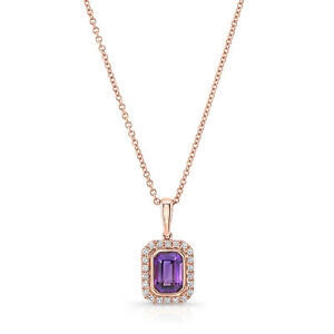 Emerald Cut Amethyst Diamond Necklace 14K Rose Gold Pendant Halo Natural 1.00CT
