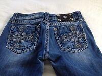 Miss Me Women's Low Rise DK 29 Studded JP5159BR Boot Cut Jeans Size 26 L29