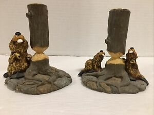 Pre-Owned/Used*Big Sky Carvers Bearfoots Set/Pair of Beaver Candle Stick Holders