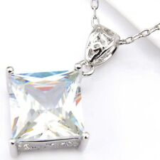 Florid Square Fire White Topaz Gems Cubic Zirconia Silver Pendants Necklaces