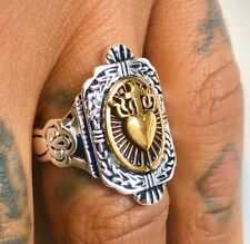 1930s 40s 50s 60's Sacred Heart Iconic Unisex 2-Tone Vintage Tattoo Style Ring