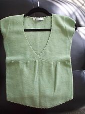 Pino Selection 100% Wool Light Green Low Cut Sweater Top Vest Cap Sleeve XS 0 2