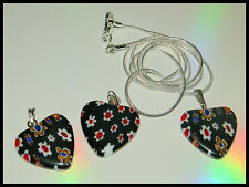 BLACK MILLEFIORI GLASS HEART PENDANT NECKLACE + STERLING SILVER STAMPED CHAIN