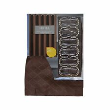 3 PC Bath Set: Brown Fabric Shower Curtain 12 Roller Ball Hooks and Clear Liner