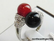 Red Jade Black Agate 18KWGP Crystal Ring size: 6.7.8.9