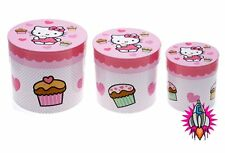 SET OF 3 HELLO KITTY PINK ROUND STORAGE BOXES CONTAINERS HAT GIFT BOX NEW