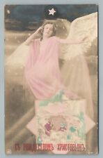 Russian Christmas Angel RPPC Antique Hand Colored Photo Postcard 1920s