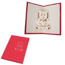 3D Lovely Bear Pop Up Greeting Card Handmade Birthday Wedding Postcard