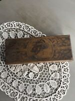 Antique Pyrograghy Art Wood Burned Victorian Woman's Profile On Lady's Glove Box