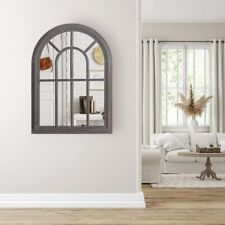 """20"""" x 27.5"""" Torched Wall Hanging Mirror Rustic Wood Frame Arched Wall Decorative"""