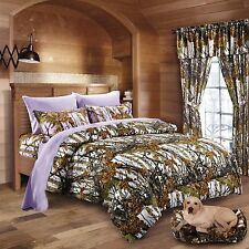 7 Pc White Woods Camo Comforter And Lavender Sheet Set Queen Size Camouflage