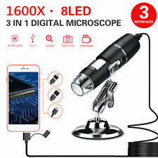 1600x USB Digital Microscope Camera 8 LED OTG Endoscope Magnification w/ Stand
