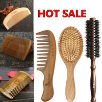 Brosse Peigne A Cheveux Bois Santal Barbe Massage Anti statique Salon Hair Comb