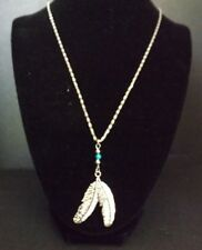 Two Feathers Silvertone Necklace with