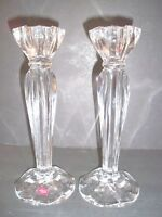 2 CRISTAL D'ARQUES CRYSTAL CANDLESTICKS-MADE IN FRANCE