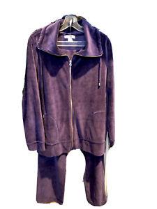 Coldwater Creek Purple Velvet Velour 2 Piece Warm Up Track Suit-Size Small