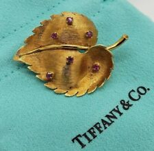 Tiffany & Co. 18k Gold Ruby Texture Leaf Bouquet Brooch Pin