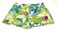 EUC Crazy8 Tropical Jungle Print Floral Teal & Green Girls Shorts 10 Adj Waist