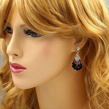 18K Gold Plated GP Purple Crystal Rhinestone Drop Chandelier Dangle Earrings 517