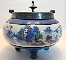 Antique Asian Blue Glazed Ceramic Pottery Silverplate Transferware? Old