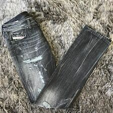 Diesel Lowky Distressed Destroyed Grey Black Jeans, 26 x 34 EUC Authentic Denim