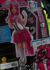 Girls Monster High CATTY NOIR Costume L 10-12 Dress w/ Cat Tail 4pc NEW LARGE