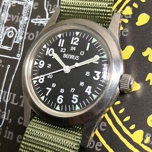 Benrus 90s Vintage MIL-W-46374 Reissue 1964 Vietnam War Watch Swiss ETA 2801-2