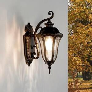 Rustikale Außenleuchte FLORENZ Schwarz Gold antik IP44 Outdoor Lampe Wand Haus