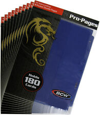 (10) BCW-PRO18S-BLU BCW Blue Trading Card Binder Pages Vinyl Page Holds 18 Cards