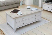 Grey Painted Solid Wood Large Coffee Table With Drawers | Baumhaus Range