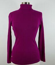 Lauren Ralph Lauren Womens Ribbed Modal Blend LS Fuchsia Turtleneck Sweater L
