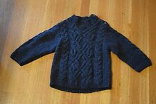 Baby Gap Charcoal Gray Cable Knit Fisherman's Sweater Boy's Size 4 Mock Neck