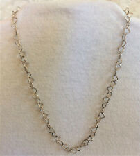 """Paolo Romeo Italy 925 Sterling Silver Heart Link Chain Necklace - 17.5"""" Dainty"""