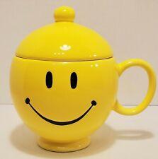 Teleflora Smiley Mug Yellow 20 oz Oversized Coffee Tea Cup with Lid Happy Face
