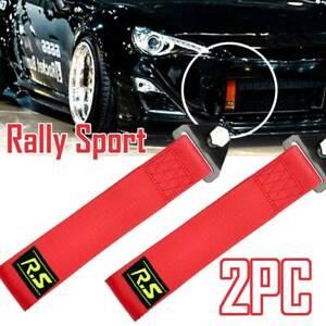 X2 Red Car Tow Towing Strap Belt JDM Drift Rally Hook Universal MUGEN Racing AU