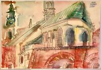 ORIGINAL Watercolor painting on paper artwork SIGNED by artist Poland Warsaw