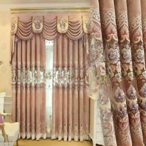 European Embroidery Curtain Fabric Pelmets Lace Tulle Voile Window Panel Drape